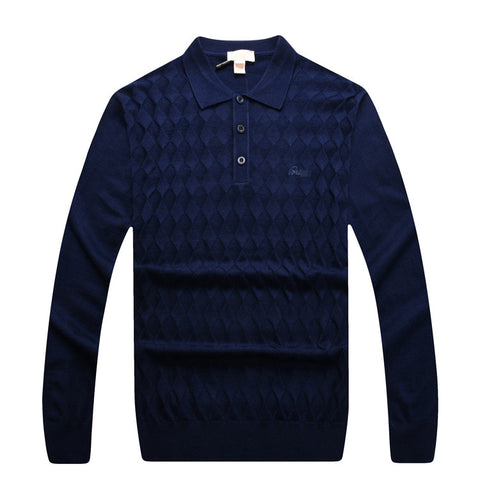 Sweater men's rhombus pattern style turn-down collar casual
