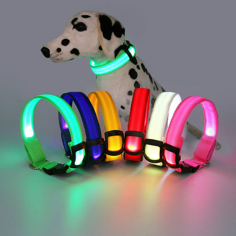 Nylon webbing LED luminous dog pet collars flash pet supplies