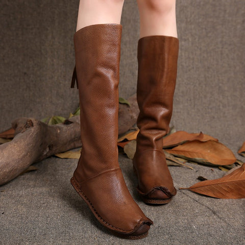 Knee High Genuine Leather Back Zip Handmade Shoes High Boots