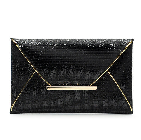 2015 luxury shiny hand bags big envelope clutch bag glitter ladies wedding bags evening bags for women party black purse handbag - JCBling Prime