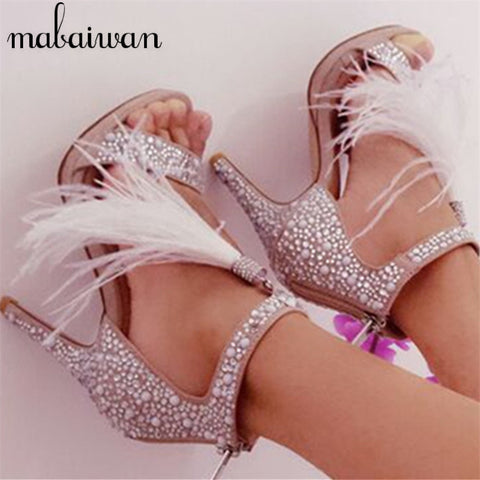 Suede Crystal Embellished Sandals Feather Fringed Gladiator