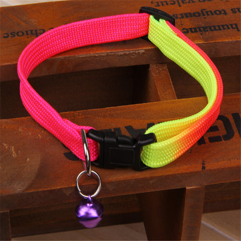 Rainbow Color Pet Collar W/ Bell 1cm Width Adjustable Length - JCBling Prime