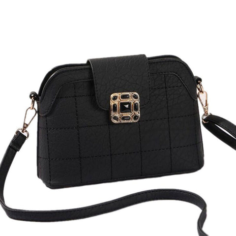 2016 Hot Sale Vintage Messenger Bags Buckle Women Shoulder Shell Bag Plaid PU Leather Handbag Crossbody 9L09 - JCBling Prime