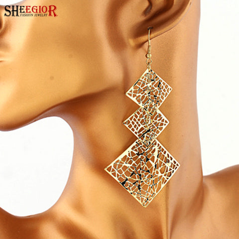 Alloy hollow three square long Earrings woman Free shipping - JCBling Prime