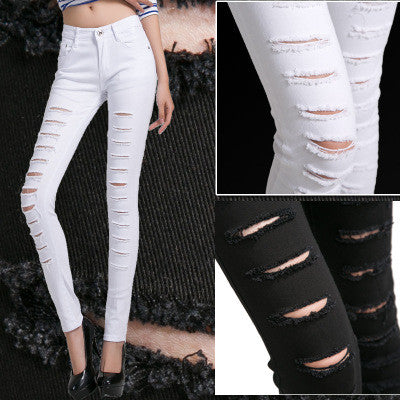 Jeans For Women Elastic white Black Ripped Jeans Plus Size
