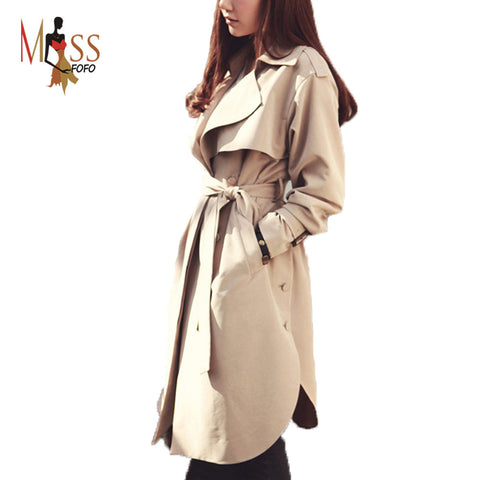 Casual women's Trench Coat long Outerwear loose clothes lady - JCBling Prime