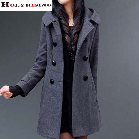 Hooded slim coat Winter long double breasted outside overcoat
