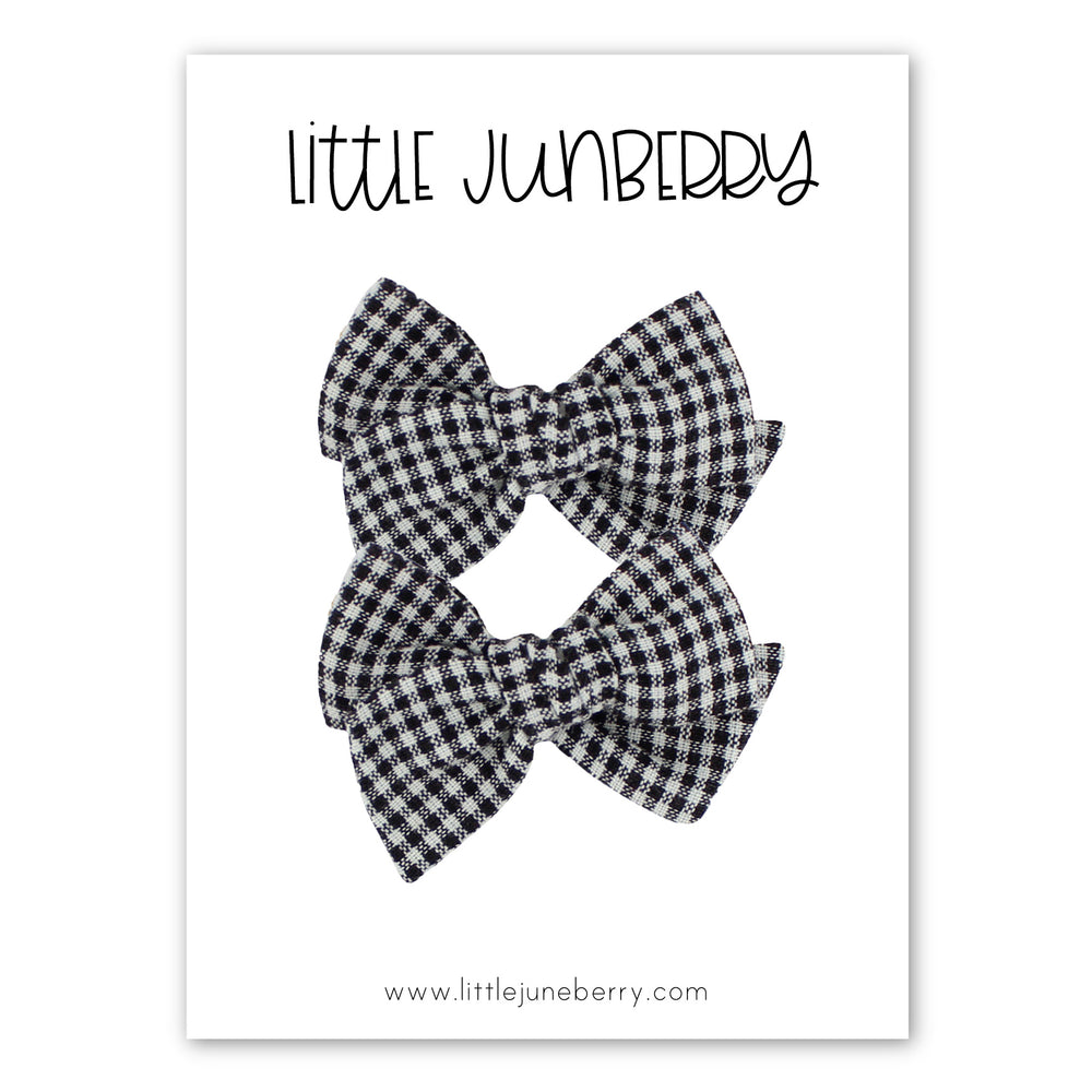 Petite Pixie Pigtail Set - Black + White Tiny Check