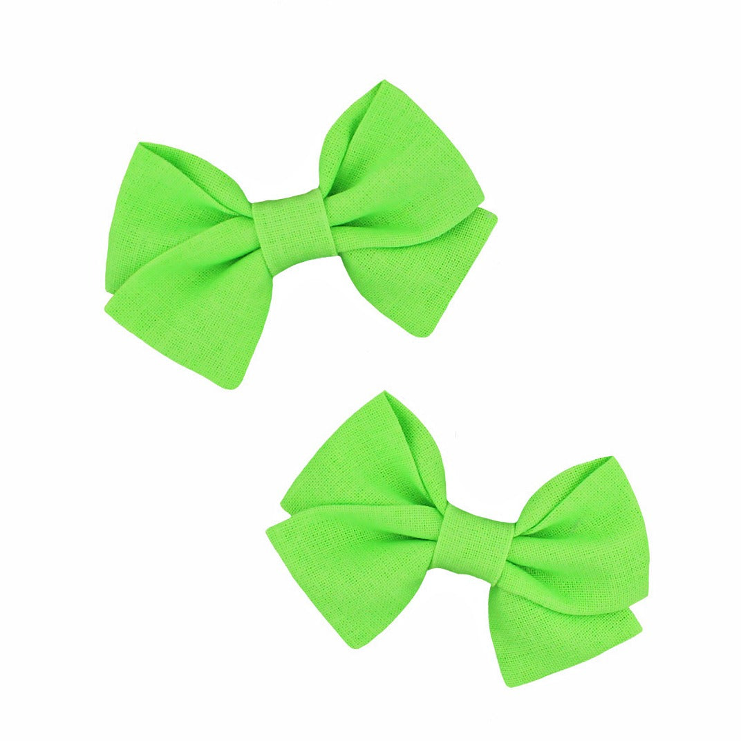 Classic Mini Bow Pigtail Set - Neon Green