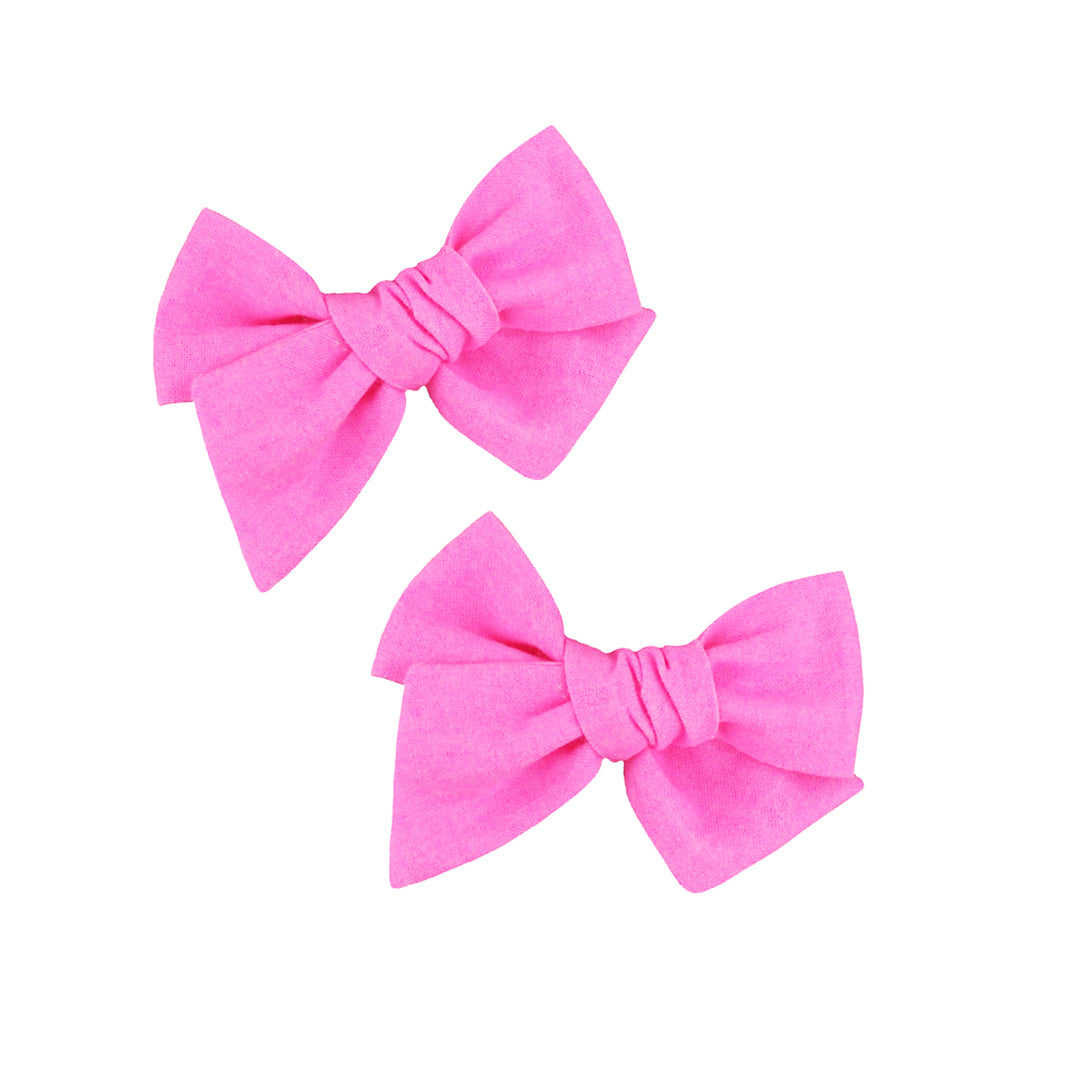 Pixie Bow Pigtails - Neon Pink