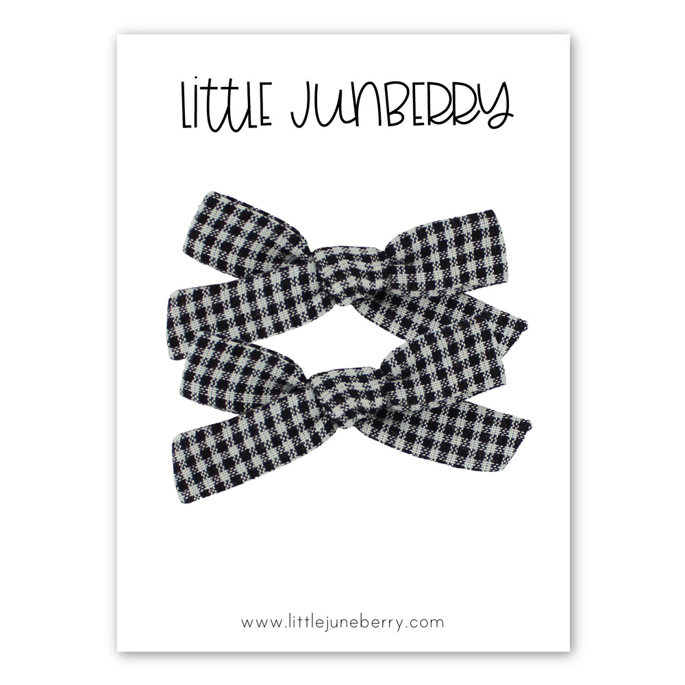 Petite Lucy Pigtail Set - Black + White Tiny Check