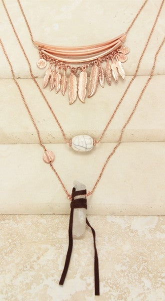 Rose Gold Stone Necklace
