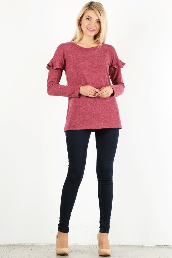 Raspberry Ruffle Long Sleeve