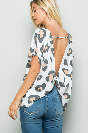 Cross Peach Leopard Top