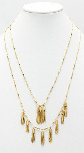 Dual Tiered Tassel Necklace