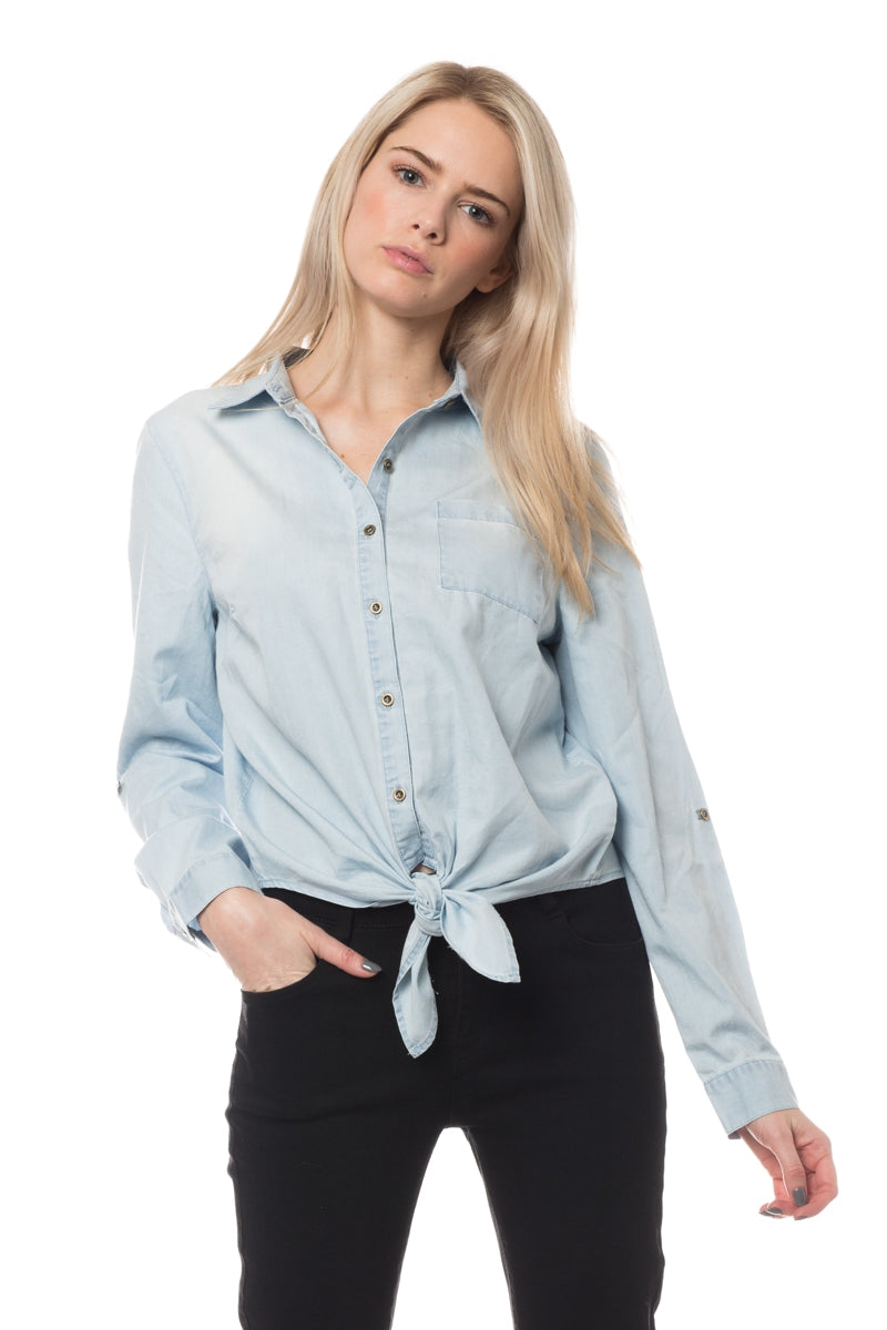 Denim Tie Up Top