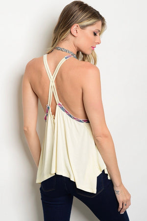 Embroidery Criss Cross Tank Top