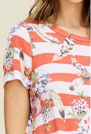 Floral Stripe Print Hi Low Front Tie Top