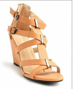 Neutral Strappy Wedge