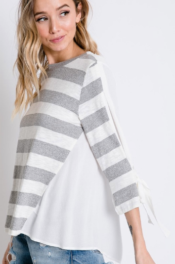 Gray Stripe Tie Sleeve Top