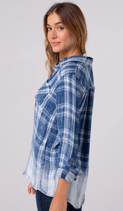 Denim Plaid Button Up