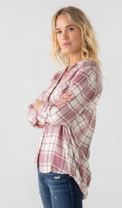 Cranberry Plaid Top