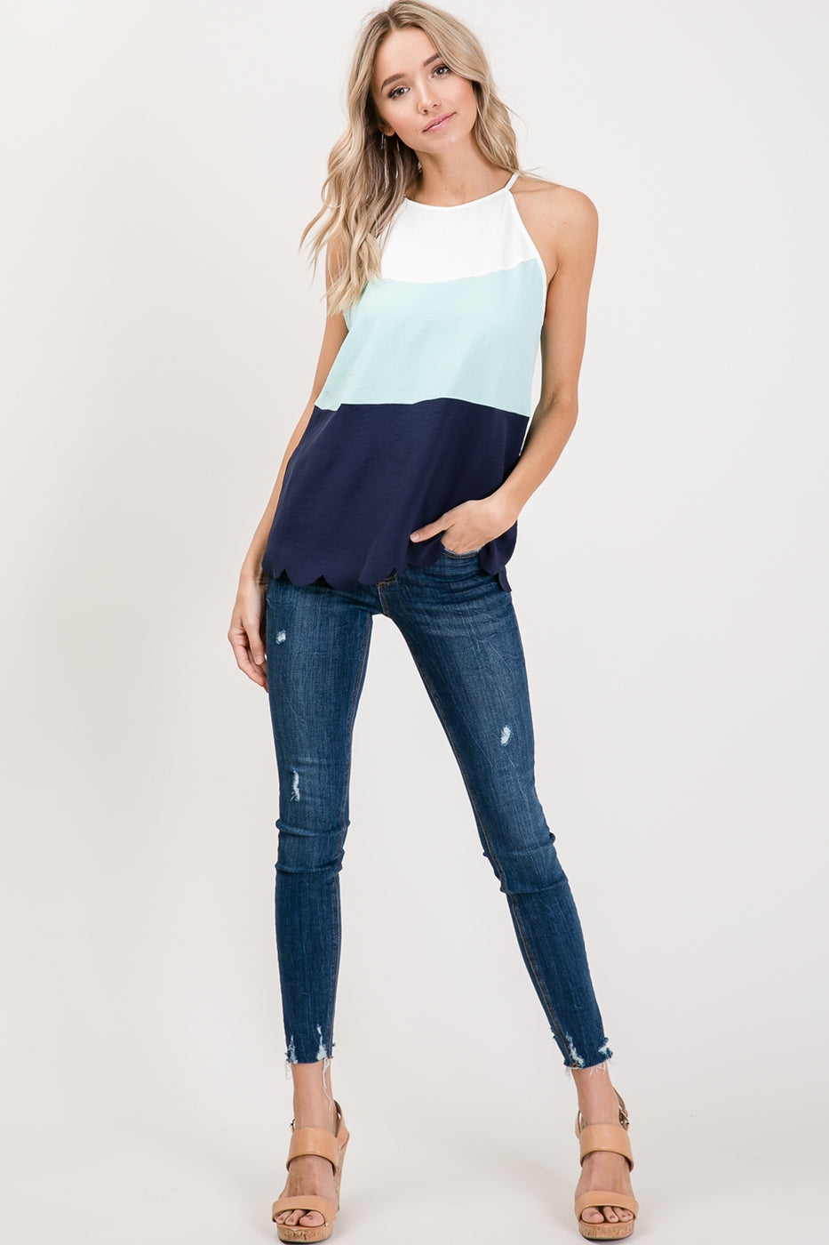 Blue Color Block Top