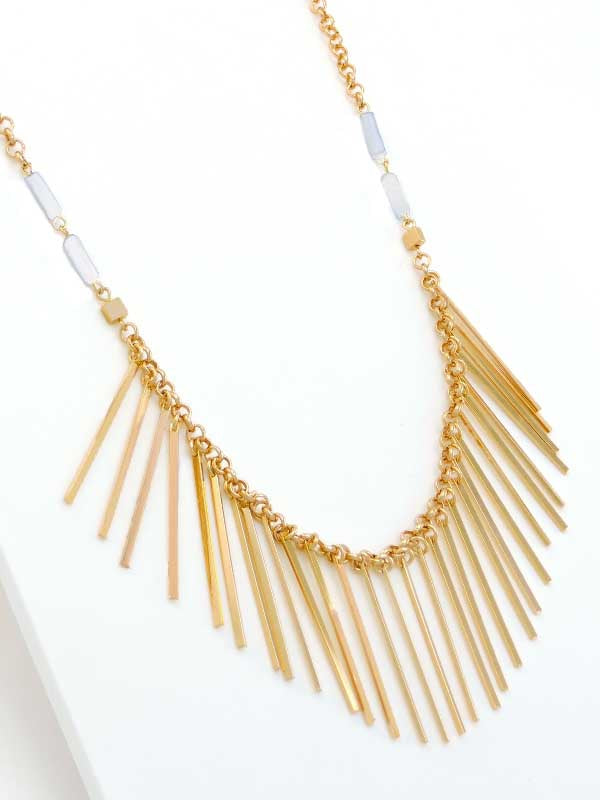 Gold Needle Crown Necklace