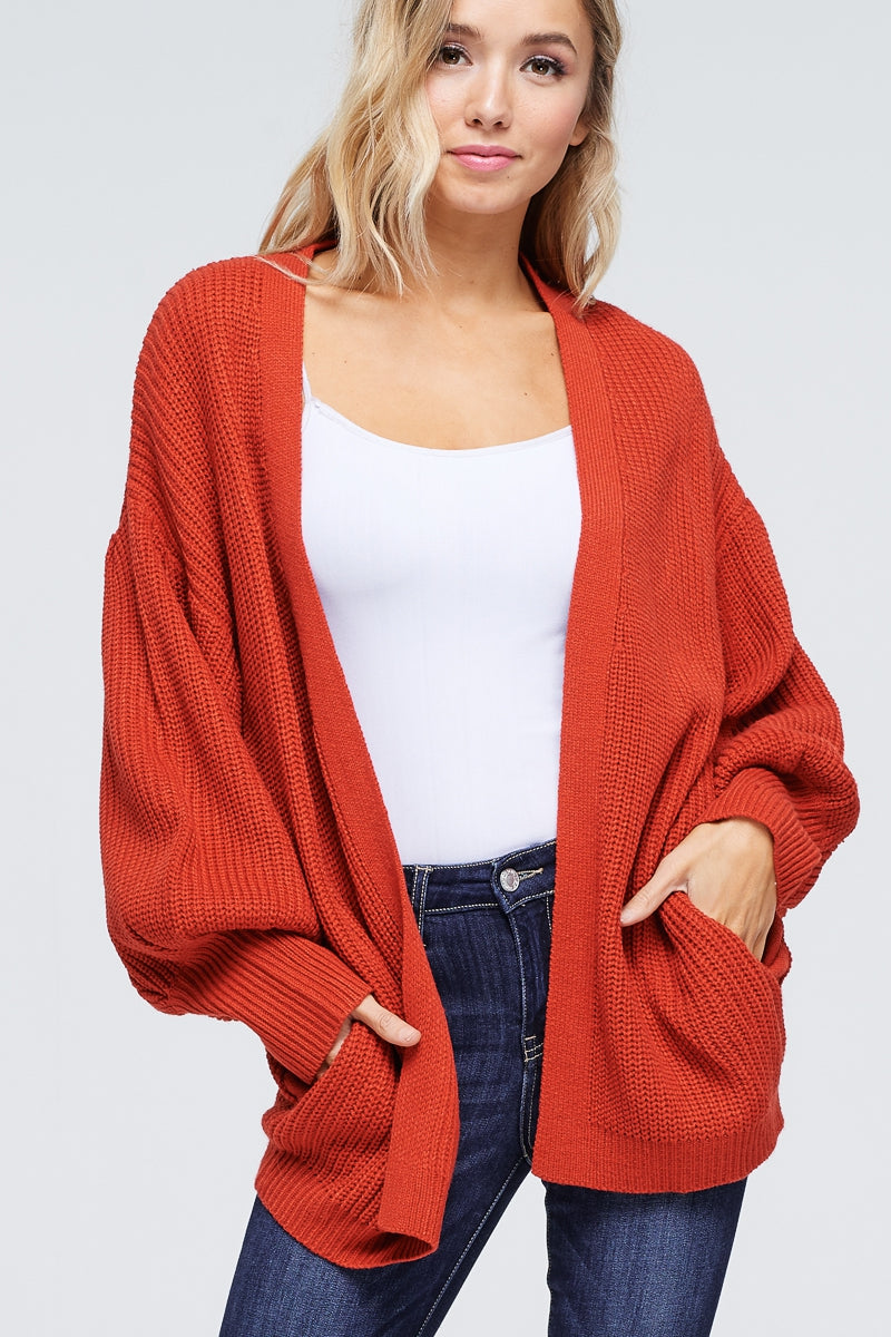Puffed Sleeve Knitted Cardigan