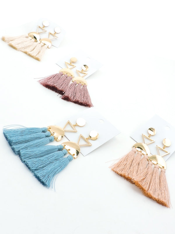 Geo Tassel Drop Earrings