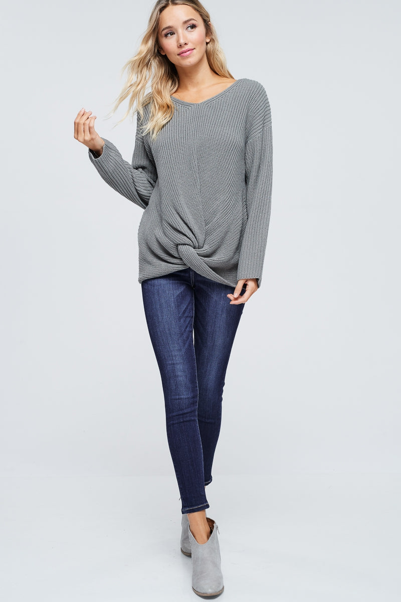 Front Knot Gray Sweater