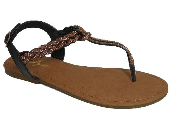 Braided Bronze and Black Sandals