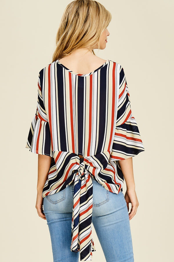 Stripped Ruffle Back Bow Top