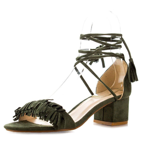 Nature Breeze Womens Open Toe Tassel Leg Wrap Lace Up Chunky Med Low Heel Pump Sandals