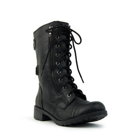 Soda Women's Dome Combat Lace Up Mid Calf Military Boot