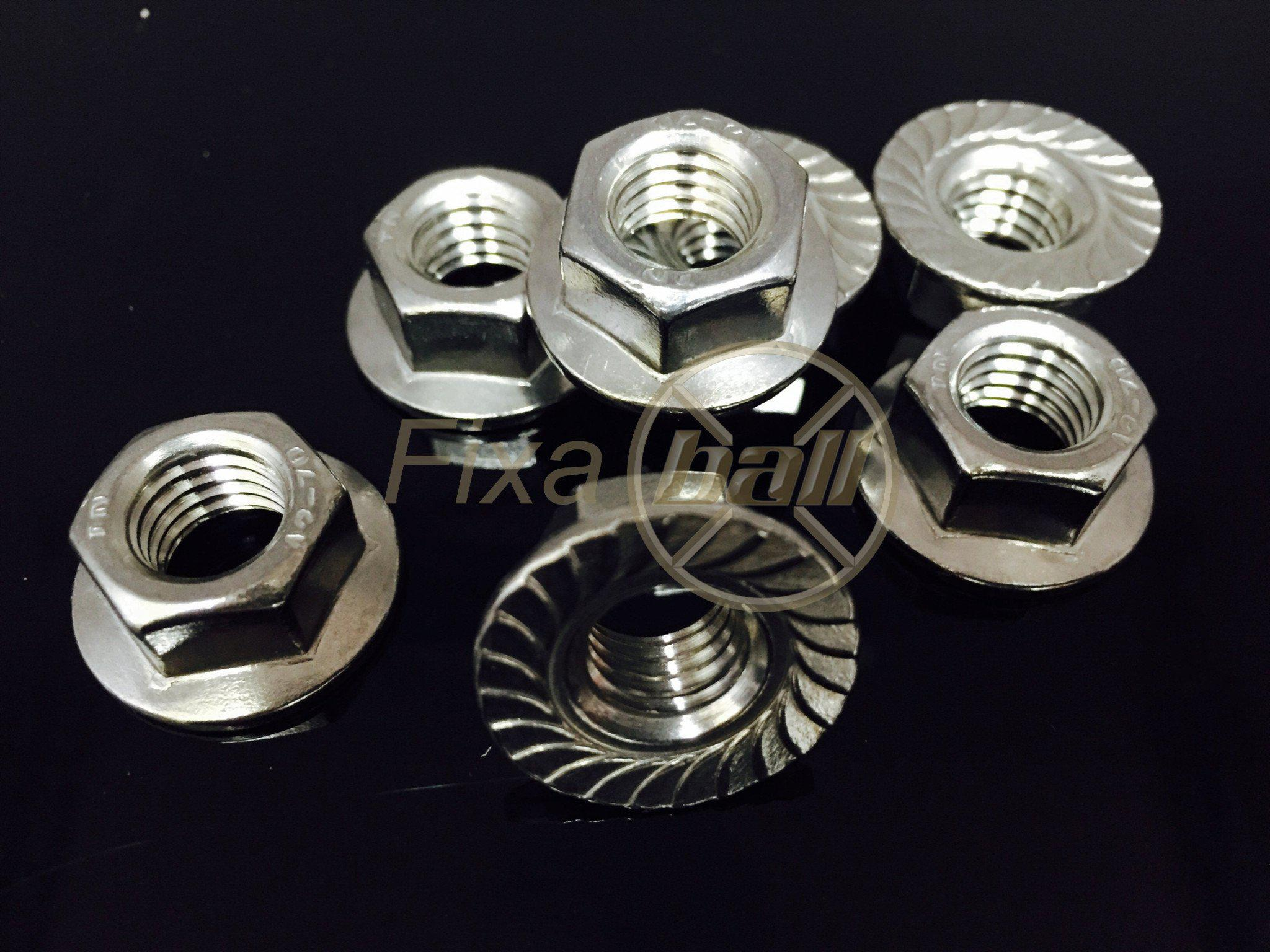 M3 - M12, Hex-Nut, Serrated Flange, A2/ 304 Stainless Steel, DIN 6923., Hardware by Fixaball