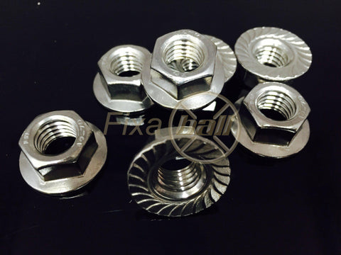 Serrated Flange Nut, A2 Stainless Steel, DIN 6923