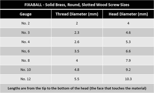 No 10 Solid Brass Round Rd Slotted Wood Screws All