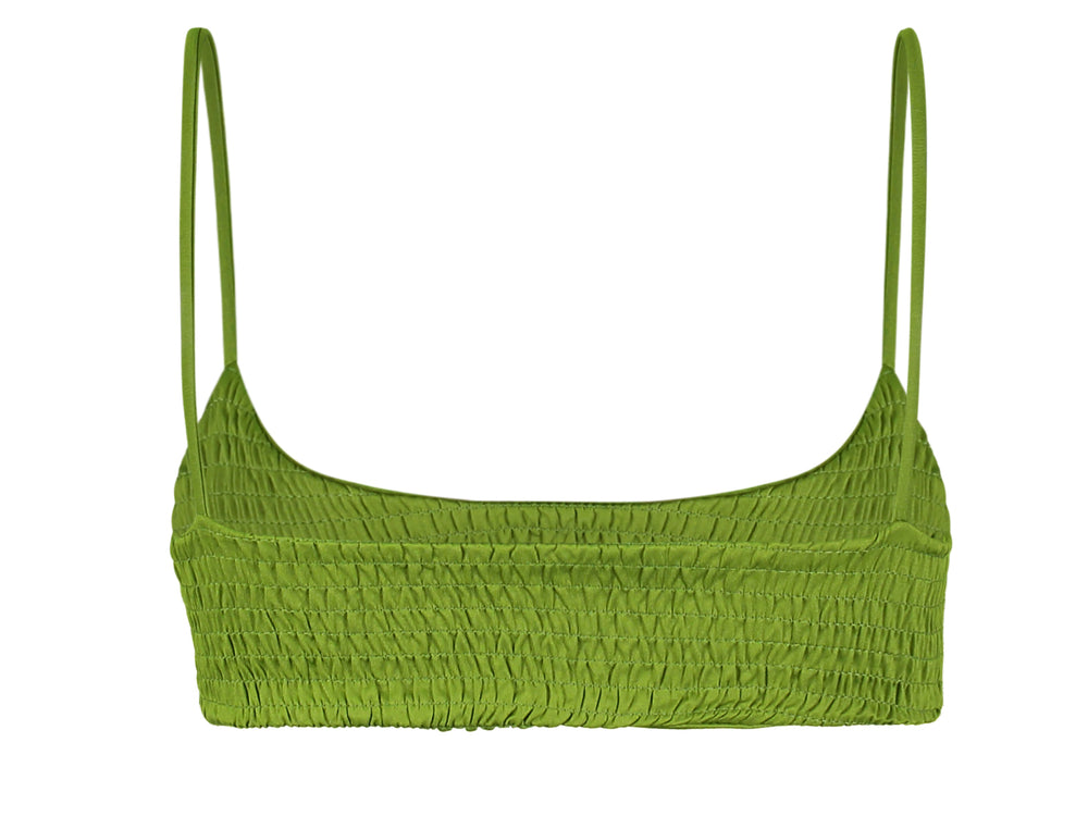Mia Smocked Bikini Top in Green