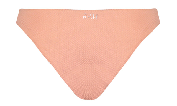 Chloe Textured Bikini Bottom in Peach