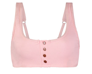 Keira Thermal Button Bikini Top in Pink