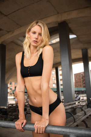 Keira Thermal Button Bikini Top in Black