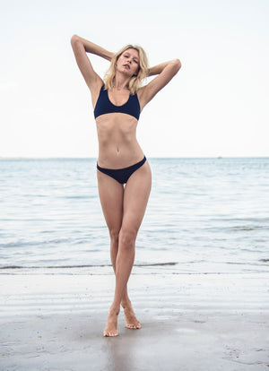 Chloe Textured Bikini Bottom in Navy