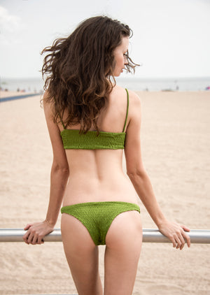 Mia Smocked Bikini Bottom in Green