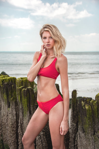 Keira Thermal Button Bikini Bottom in Red