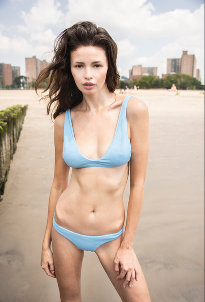 Chloe Textured Bikini Bottom in Light Blue