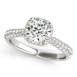 1 1/3 ct tw Halo Round Pave Engagement Ring with G Color SI1 Clarity Diamonds GIA Center Stone.