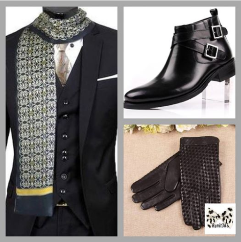 Long silk scarf for men with motorcycle style ankle boot and braided leather gloves