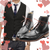 Black ankle boots with red shoe lace, black wool waistcoat Gaspar and Skull design neck tie - Only at Runit365