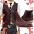 Reddish brown Chelsea Boots Joey, Burgundy wool waistcoat Gaspar and blue red heart neck tie - Runit365